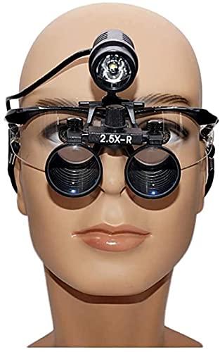 JeeKoudy Lupa Dental, Lupa con luz, Lupa médica Dentista quirúrgica Dental lupas binoculares médicas 2.5X 3.5X Gafas de Lupa de Vidrio óptico
