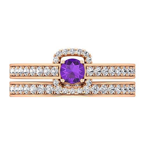 Anillo solitario de amatista de 1 quilate, anillo de diamante HI-SI, anillo de novia, anillo solitario con piedra lateral, joyería de novia de oro, oro de 14 quilates, Metal, Diamond Amethyst,