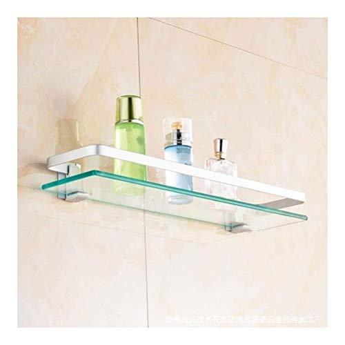 DONGYAO Estante de baño para ducha de pared, estante de baño de 1 nivel, estante rectangular de aluminio con toallero, perforación, negro, para baño, cocina, oficina, 0917 (tamaño de 60 cm)