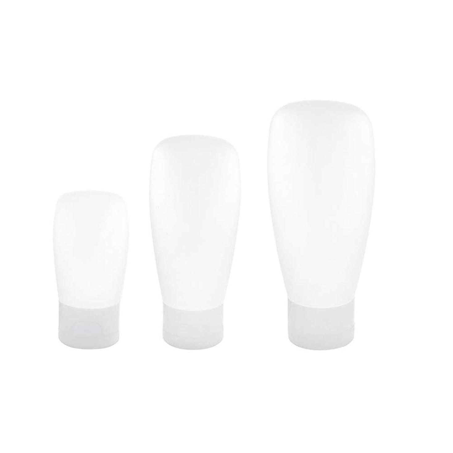 スイッチカーペットステーキTOPBATHY 3本旅行ボトルプラスチック詰め替え式トラベルコンテナスクイーズトラベルチューブセット用シャンプーローションソープ30ML 60ML 100ML(ホワイト)