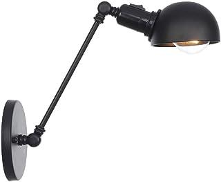 CHOUCHOU Apliques Pared Lámpara de Pared Luz Pescador Industrial Brillo Interior usando el Antiguo lámpara de Pared Negro/Un Interruptor de botón