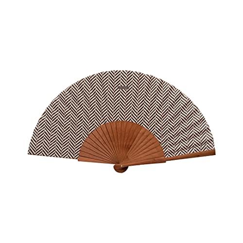 Tusitala Barcelona - Brauner Espiga Marron mit exklusivem Design - Original Fächer aus Holz und Baumwolle - Spanisch Fächer-Stoffkollektion-Handgefertigt