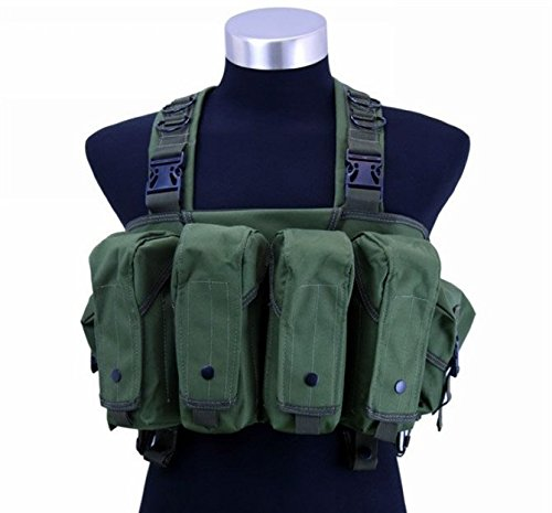 DLP Tactical Intruder Universal Chest Rig with 308/223 Magazine Pouches (OD Green)
