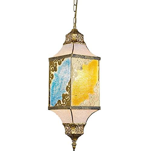 Ye Wang Turco Tiffany luz Colgante Linterna marroquí Araña Pantalla de lámpara Vintage Mosaico árabe Iluminación de Techo Sala de Estar Dormitorio Comedor Cocina Decoración Lámpara Colgante E27