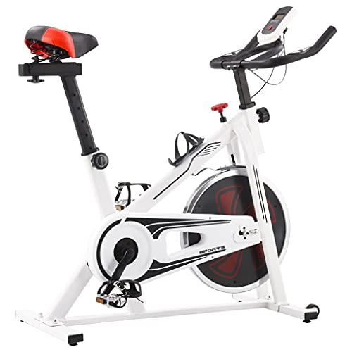 VIENDADPOW Bicicleta de Spinning con sensores de Pulso Blanca y roja