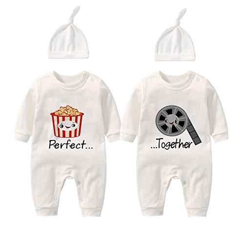 YSCULBUTOL Bebé gemelos nuevo bebé mameluco perfecto juntos bebé niño niña ropa recién nacido vestido de cumpleaños - blanco - 3-6 meses