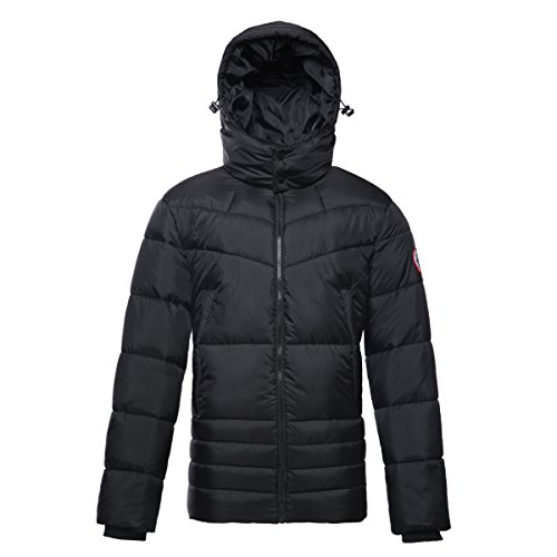 Men's Water-Resistant Hooded Thickened Insulated Quilted Puffer Coat Heavy Padded Winter Parka Anorak Jacket