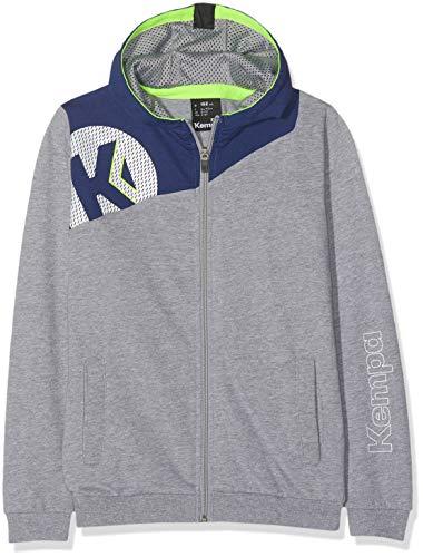 Kempa Kinder CORE 2.0 Kapuzen T-Shirt, Dark grau Melange/deep bl, 128