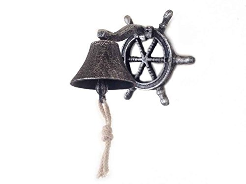 Hampton Nautical Cast Iron Hanging Ship Wheel Bell, Antique Silver