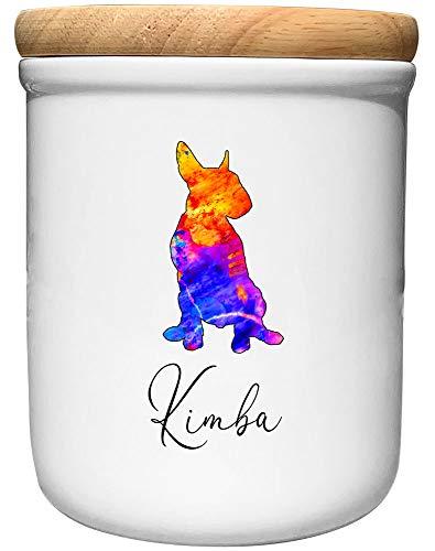 Cadouri Keramik Leckerli-Dose Bullterrier » personalisiert mit Name deines Hundes «┊Snackdose Keksdose Aufbewahrungsdose┊mit Holzdeckel