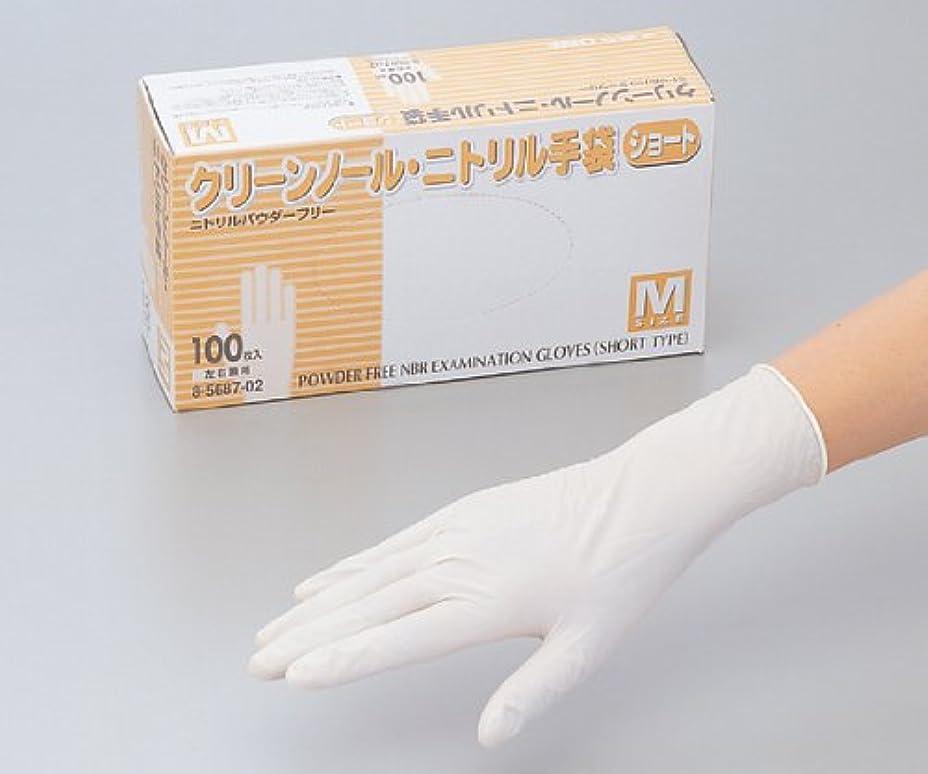 偶然の複雑不毛のクリーンノールニトリル手袋ショート(パウダーフリー) S (100枚)