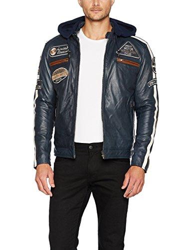 Chaqueta Moto Hombre en Cuero Urban Leather '58 GENTS' | Chaqueta Cuero Hombre | Cazadora de Moto de Piel de Cordero | Armadura Removible para Espalda, Hombros y Codos Aprobada CE |Navy Azul | 2XL