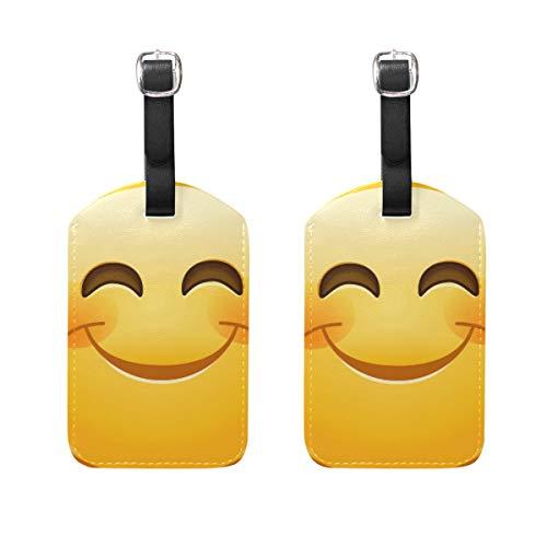 WINCAN Etiquetas de Equipaje (variadas,2PK),Sonriendo Emoticon Ojos Felices Rosy Mejillas,Etiqueta de Equipaje para Equipaje,Mochilas Etiquetas de Maleta