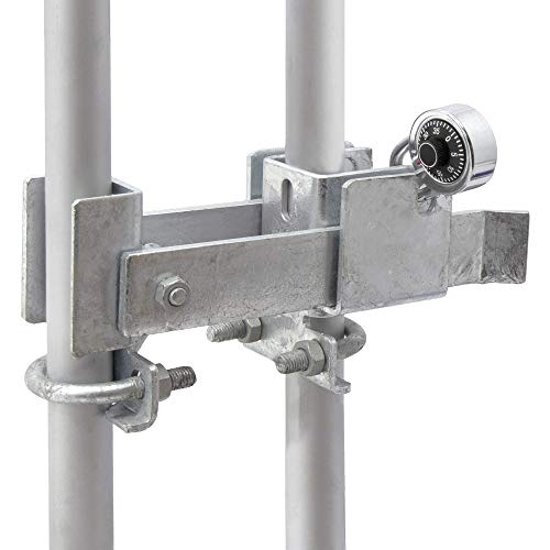Chain Link Fence Commercial Strong Arm Double Gate Latch for 1-5/8' thru 2' Gate Frames Pipe Sizes. Use this Double Gate Latch Where 2 Gates Swing Together.