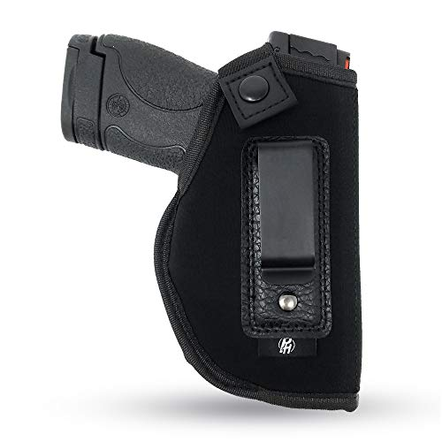 IWB Gun Holster by PH - Concealed Carry Soft Material | Soft Interior | Fits MP Shield 9mm.40.45 Auto/Glock 26 27 29 30 33 42 43/ Ruger LC9, LC380 | Taurus Slim Line, PT111 | Springfield XD