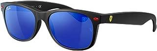 Adult New Wayfarer Sunglasses,55mm,Matte Black/Green Mirror Blue