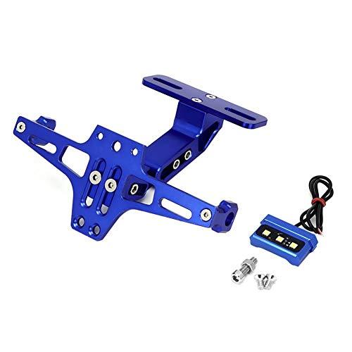 Qii lu Marco de matrícula, Soporte de Placa de matrícula Soporte telescópico Ajustable de aleación de Aluminio Soporte de matrícula con luz LED para Motocicleta(Azul)