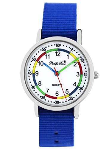 Pacific Time Mädchen Jungen Uhr Lernuhr analog Quarz mit Textilarmband Royalblau 10811