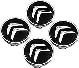 4Piezas 60mm Tapas Centrales Llantas para Citroen C2 C3 C4 C5 C1 Elysee Berling Xsara Picasso Ds3 Ds4 Ds6,Tapacubos Decoración con forma de coche resistente al agua y al óxido con logotipo de placa
