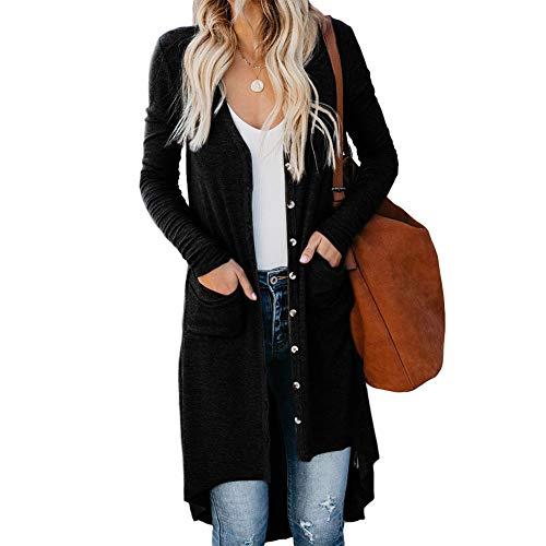 Rmine Gilet Femme Ouvert Long Cardigan Manches Longue Casual Uni (Noir, M)