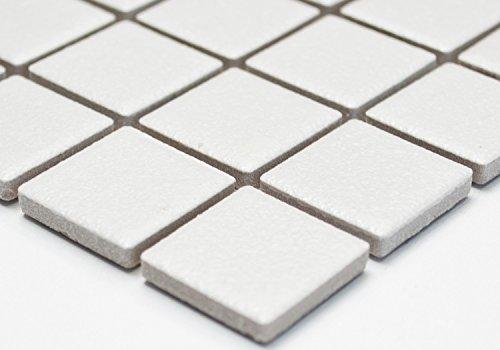 Mosaik Quadrat uni weiß rutschhemmend R10 Keramik rutschsicher trittsicher anti slip rutschfest Duschtasse Boden Küche Bad WC, Mosaikstein Format: 2,5x2,5x6 mm, Bogengröße: 330x302 mm, 1 Bogen/Matte