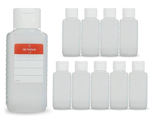 10 botellas de plástico de Octopus de 100 ml, botellas de plástico de HDPE con tapones abatibles blanco, botellas vacías con tapa abatible blanco, botellas rectangulares con etiquetas para marcar