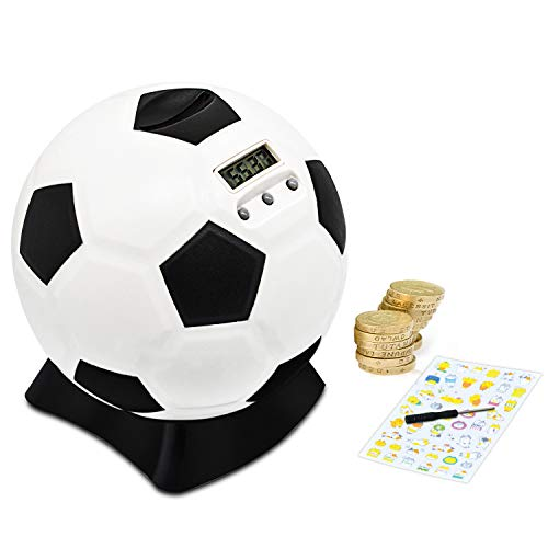 MOMMED Piggy Bank,Digital Counting Moneybox,Soccer Ball Piggy Bank,Piggy Bank for Kids,Best Gift for Early Education,Money Bank with Football Look,Coin Saving Bank with Automatic LCD Display