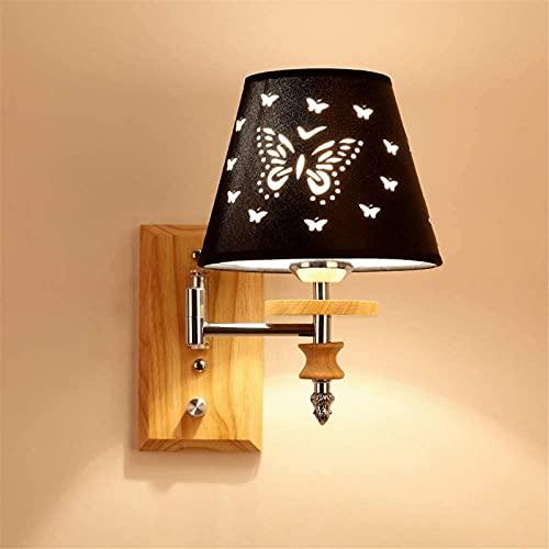 Lámpara de pared columpio lámpara de pared de brazo largo dormitorio lámpara de cabecera basculante interior con interruptor lámpara de lectura de ángulo ajustable madera maciza sala de estar moderna