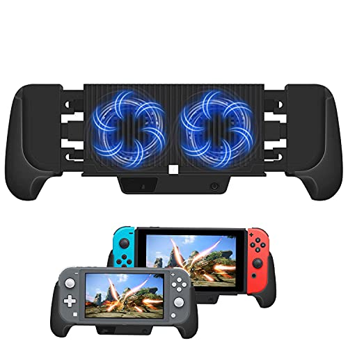 Charger Case for Nintendo Switch/Switch Lite, 6000mAh Battery Portable Charger Shell Protective Case Stretchable Grip, Double Cooling Fans, Quick Charging Cooling Controller with Kickstand