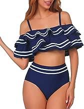 Women 2 Piece Vintage Navy Ruched Flounce Off Shoulder Crop Top with High Waist Bottom Bikini Set Swimwear Swimsuit Blue S