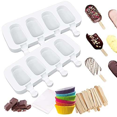 YINVA Eisformen Silikon, Eis Am Stiel formen, 2 Stück 4 Zellen Silikon EIS am Stiel Formen, 50 Holzstielen, 50 selbstklebende Beutel, Kuchenform Dessertform DIY Frozen Dessert für Kinder Erwachsene