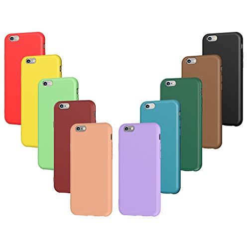 VGUARD 10 x Funda para iPhone 6s / 6, Ultra Fina Carcasa Silicona TPU Protector Flexible Funda (Negro, Verde Oscuro, Verde Claro, Azul, Naranja, Rojo Vino, Rojo, Amarillo, Púrpura, Marrón)