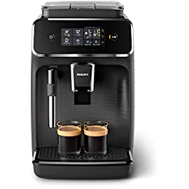 Philips 2200 Series Fully Automatic Espresso Machine w/ Milk Frother, Black, EP2220/14 1 Easy selection of your coffee with intuitive touch display, makes espresso, hot water and coffee From fine to coarse thanks to the 12 step grinder adjustment 20,000 cups of finest coffee with durable ceramic grinders