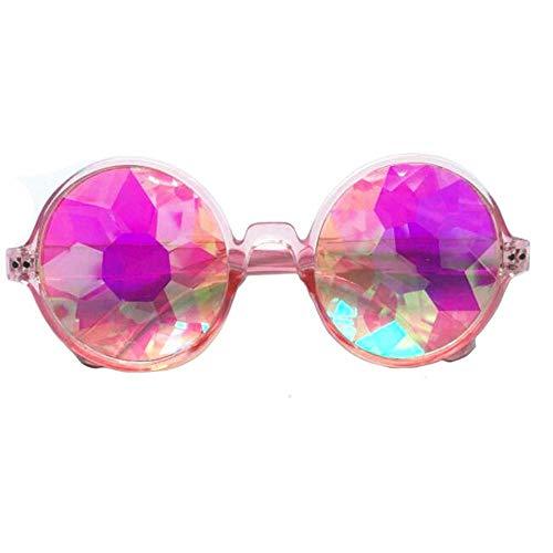 FOONEE Kaleidoskop Brillen, Rainbow Prism Sonnenbrille Leicht Prism Kaleidoskop für Rave Festival (Rahmen schwarz) Pink Frame