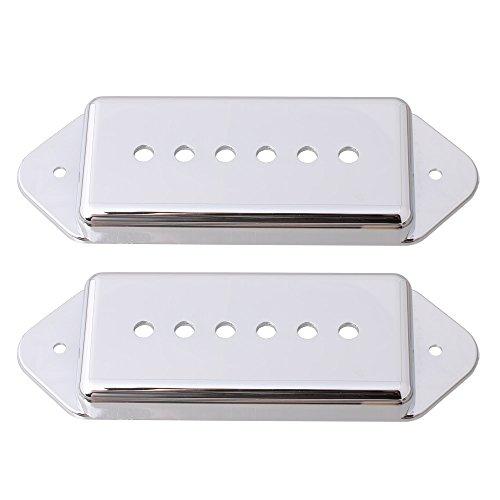 LYWS Dogear Pickup-Abdeckungen für P-90 Gitarren-Tonabnehmer, 50 mm und 52 mm Stangenabstand P90 (Chrom)