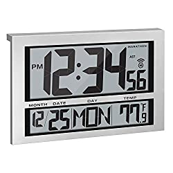 Marathon Commercial Grade Jumbo Atomic Wall Clock with 6 Time Zones, Indoor Temperature & Date - Batteries Included - CL030025 (Silver)