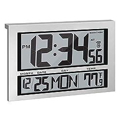 Marathon CL030025 Jumbo Atomic Self-Setting Self-Adjusting Wall Clock w/Stand, Batteries Included (1, Silver)