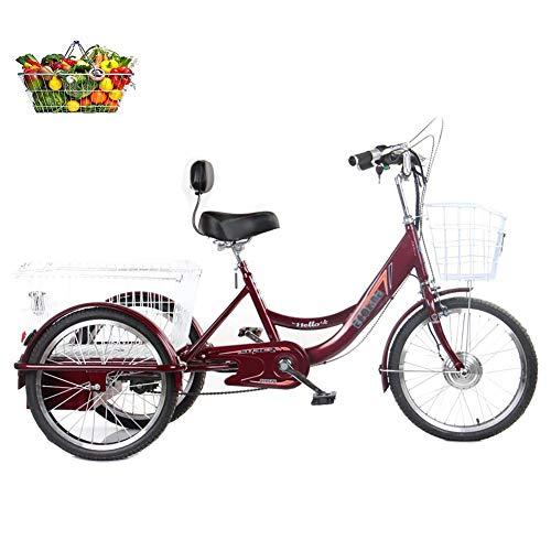 Triciclos para Adultos Bicicletas eléctricas de 3 Ruedas de 20 Pulgadas para Personas de Mediana Edad y Personas Mayores con Refuerzo de la Cesta de la Compra agrandado Bicicletas para Padres