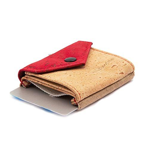 Space Wallet Mini Portemonnaie I Spacewallet Kork Peak Kollektion für Damen & Herren I Kleine Geldbörse aus hochwertigem Natur-Cork I Innovativer Geldbeutel & Kartenetui I Burgundy