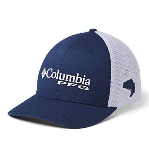 Columbia Unisex PFG Mesh Ball Cap, Carbon/White/Red Spark Bass, S/M