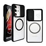 Szfirstey for Galaxy S21 Ultra Case, CamShield with Slide Camera Cover Metal Ring Compatible with Magsafe Charger Accessories Slim Protective Case for Samsung Galaxy S21 Ultra 6.8 inch (Black)