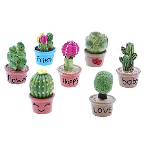 SuxiDi Juego de 7 Mini Cactus y Maceta de Flores para decoración de jardín de casa de muñecas