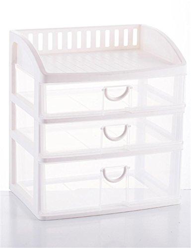 KKCF Tiroir en Plastique Transparent - Boîte Storey tiroir Finition - Style de cosmétiques boîte de Rangement Multi dépenses familiales (Couleur : Blanc, Taille : 34 * 25.5 * 38cm)