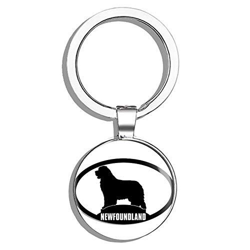 HJ Media Oval Newfoundland Silhouette (Dog Breed) Metal Round Metal Key Chain Keychain Ring