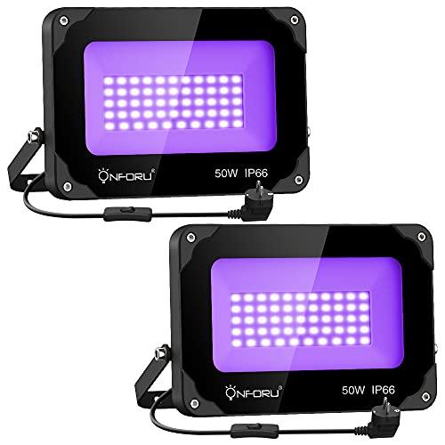 Onforu Lot de 2 Projecteur UV LED 50W, Lumière Noire IP66 Im