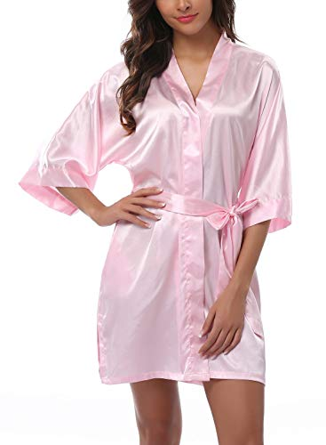 FADSHOW Women's Satin Robes Short Wedding Robes for Bridal Party,Light Pink,X-Large
