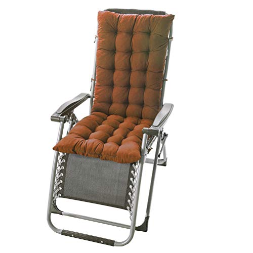 Soft Patio Long Chair Cushion, Extra Large Rocking Chair Cushion Patio, Not-Slip High Back Chaise Lounger Cushion, Garden Seat Cushion Chair Pad Indoor Outdoor Sun Lounger Cushion - Light Coffee