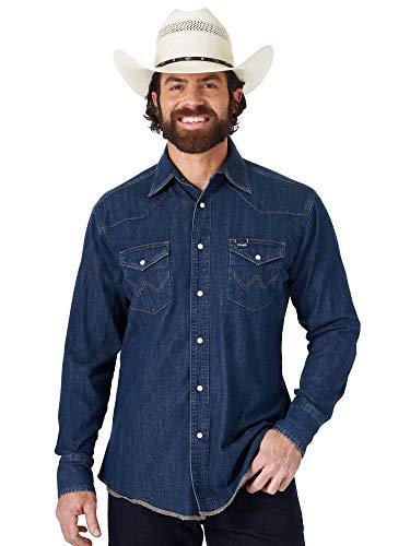 Wrangler Herren Western Long Sleeve Snap Work Shirt Washed Finish Hemd, Dunkles Jeansblau, Klein