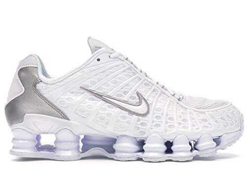 Nike Shox TL, Zapatillas de Atletismo para Hombre, Multicolor (White/White/Metallic Silver/MAX Orange 000), 41 EU