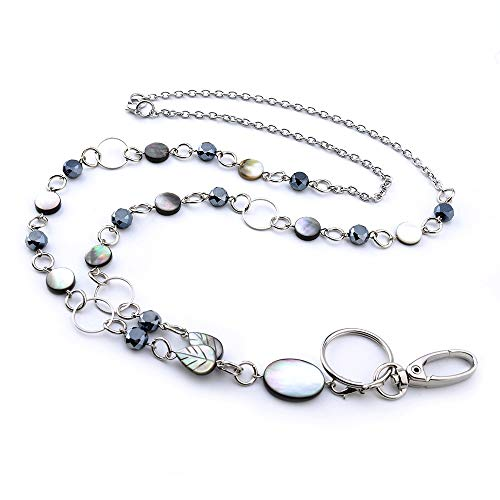 LUXIANDA Elegance Badge Lanyards ID Necklaces ID Badge Holder for,Nurses and Other OL Stainless Steel Chain